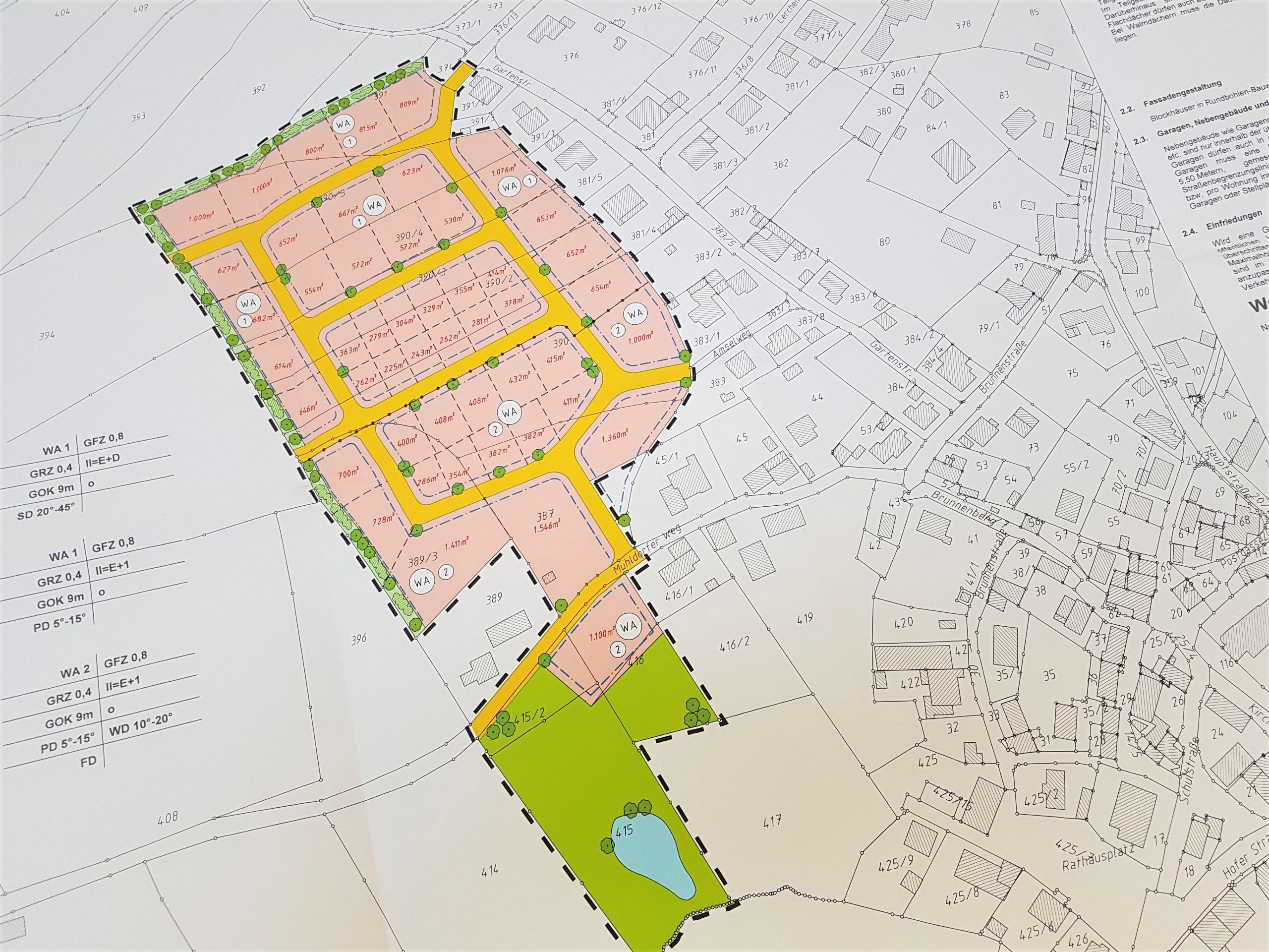 "Ausschnitt aus dem Bebauungsplan unseres neuen Baugebietes ""Schwagerholz"""