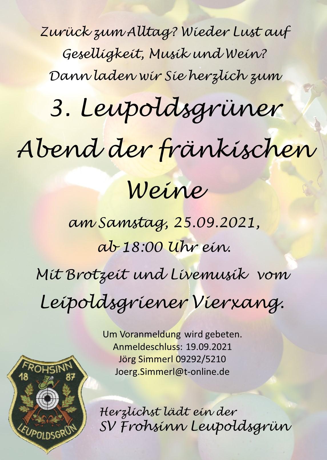 Einladung zum Weinfest am 25.09.2021