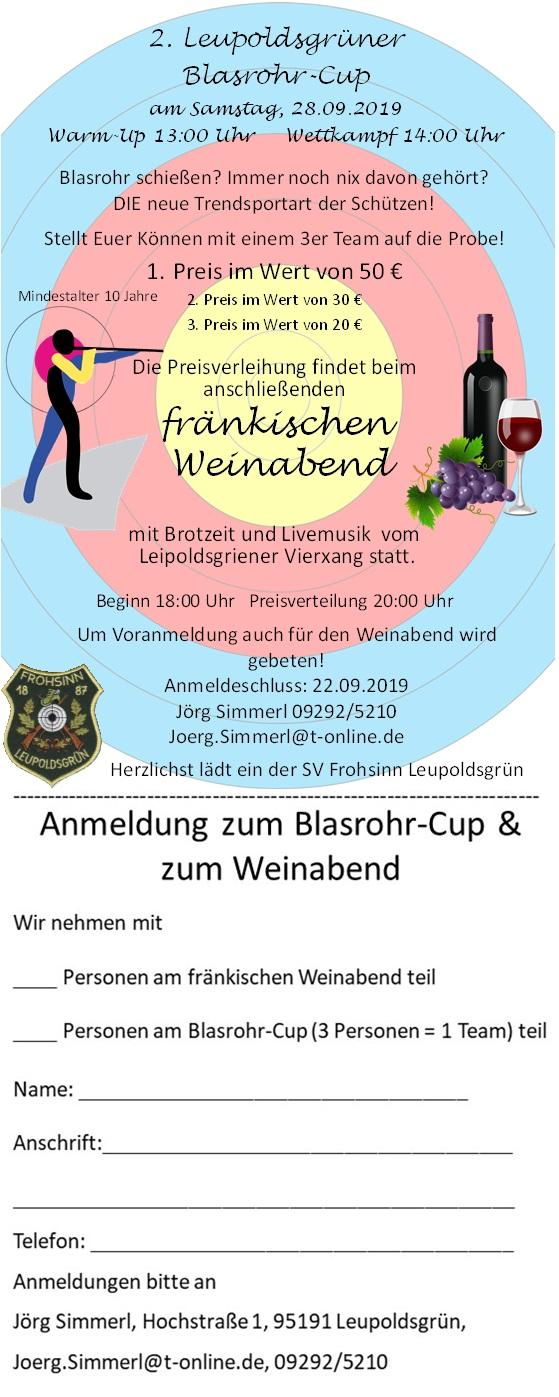 Einladung zum 2. Blasrohr-Cup mit fränkischem Weinabend am 28.09.2019